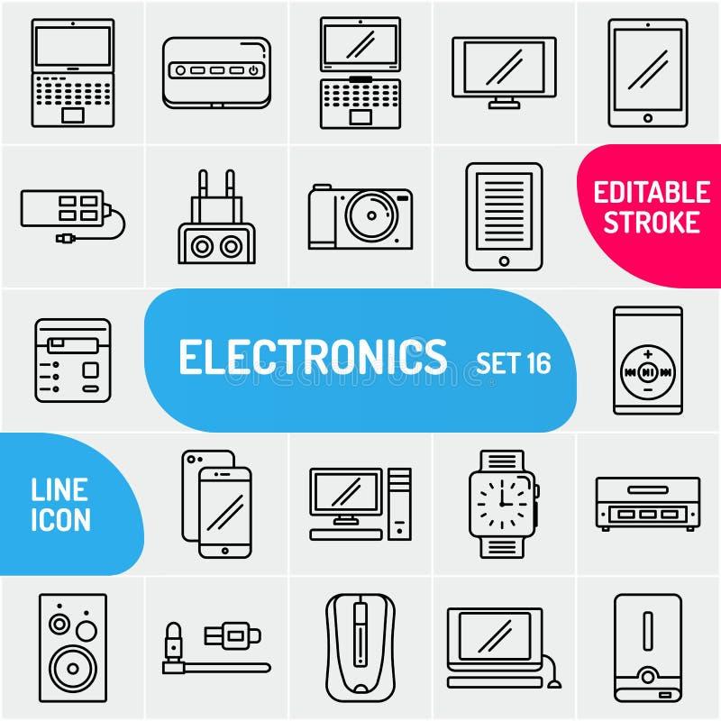 Geplaatste technologiepictogrammen Overzichtsstijl De Multimedia en de Apparaten van de inzamelingselektronika Vector illustratie vector illustratie