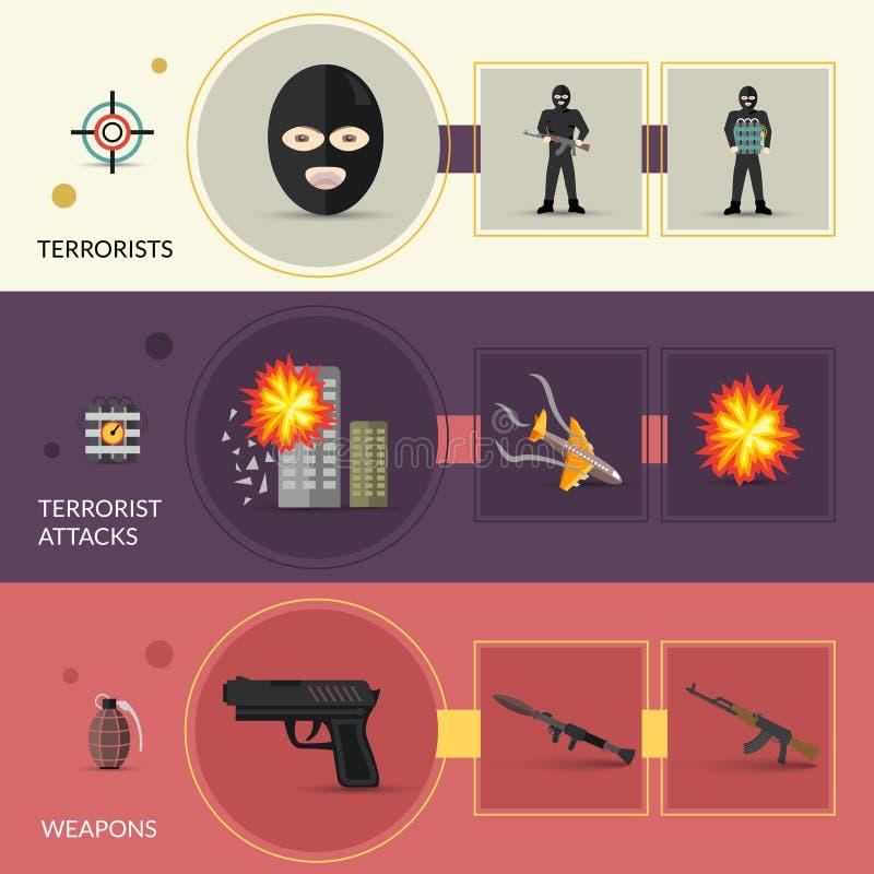 Geplaatste terrorismebanners vector illustratie