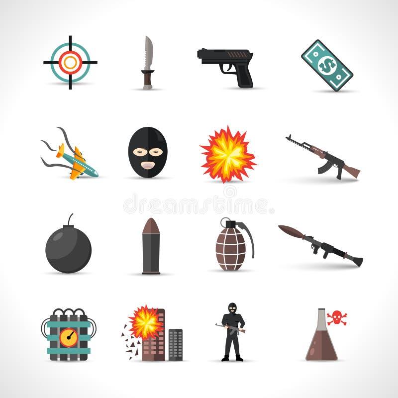 Geplaatste terrorismepictogrammen royalty-vrije illustratie