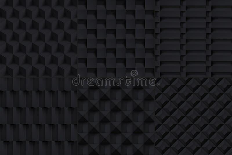 Geplaatste texturen van volume ontwerpen de realistische vectorkubussen, het zwarte geometrische patroon, donkere achtergronden v royalty-vrije illustratie