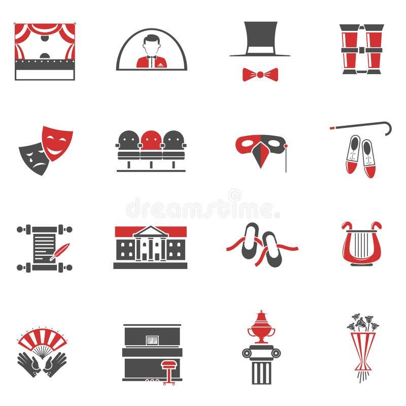 Geplaatste theater Rode Zwarte Pictogrammen stock illustratie