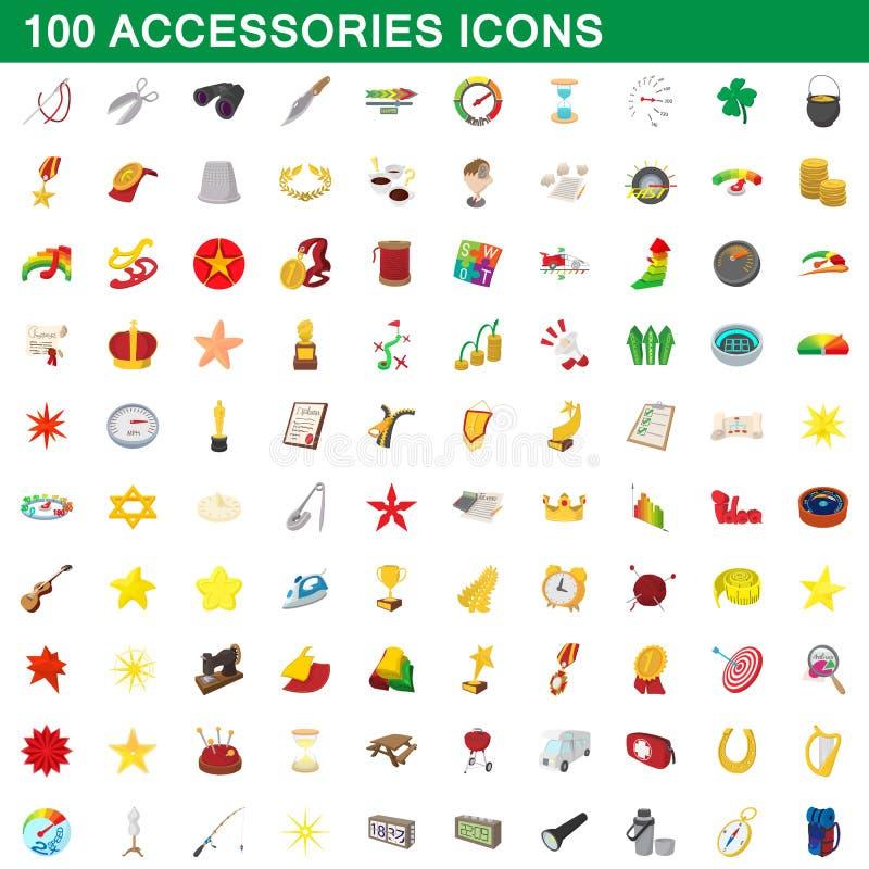 100 geplaatste toebehorenpictogrammen, beeldverhaalstijl stock illustratie