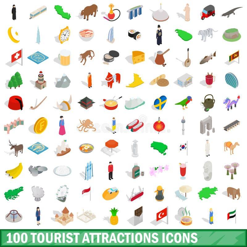 100 geplaatste toeristische attractiespictogrammen stock illustratie