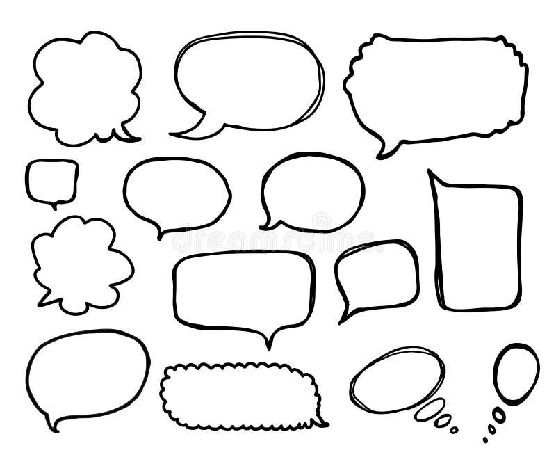 Geplaatste toespraak of gedachte bellen De vectorillustratie van de beeldverhaalkrabbel stock illustratie