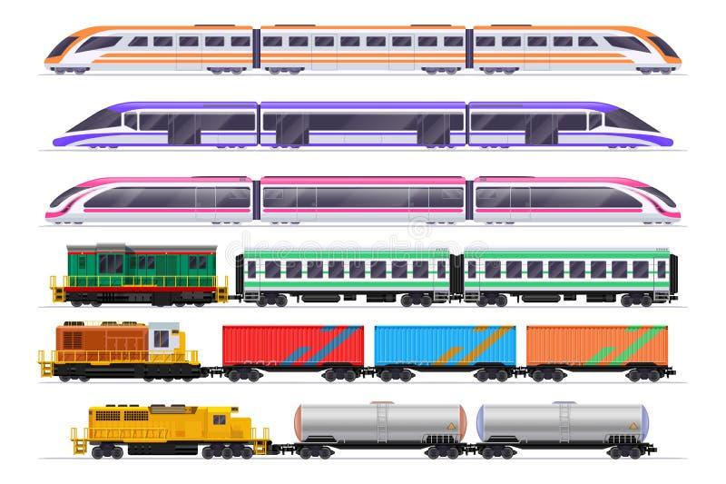 Geplaatste treinen Passagier en goederentrein met wagens Vectordiespoorwegvervoer op witte achtergrond wordt geïsoleerd royalty-vrije illustratie