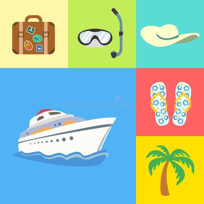 Geplaatste vakantievakantie en reispictogrammen vector illustratie