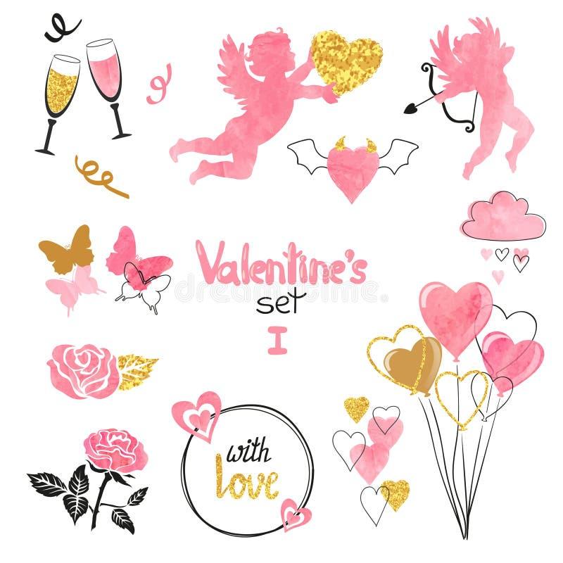 Geplaatste valentijnskaarten Inzameling van cupido's en romantische elementen voor het ontwerp van de groetkaart royalty-vrije illustratie