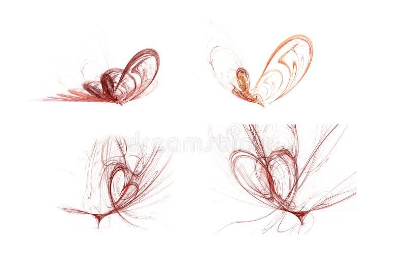 Geplaatste valentijnskaartenharten royalty-vrije illustratie