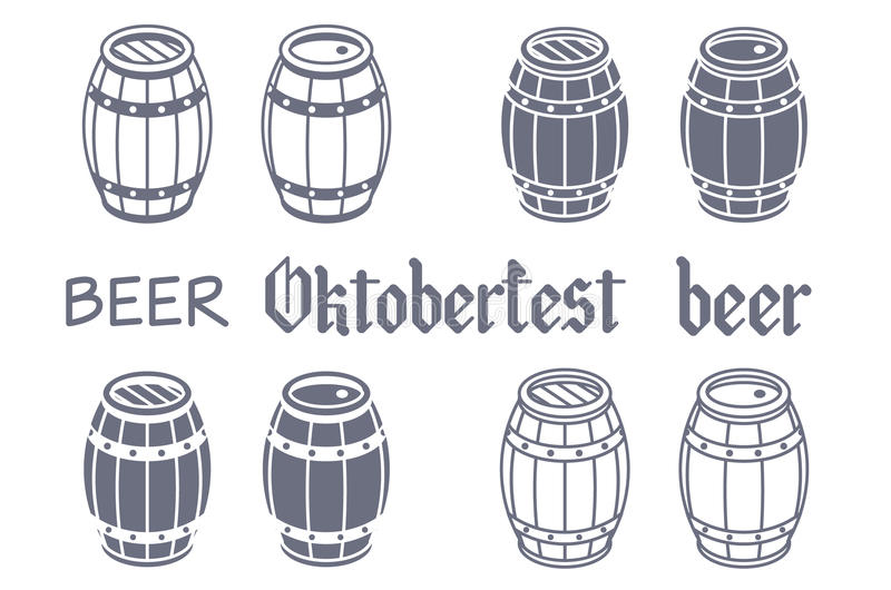 Geplaatste vaten Vectorbier meest oktoberfest hout vector illustratie
