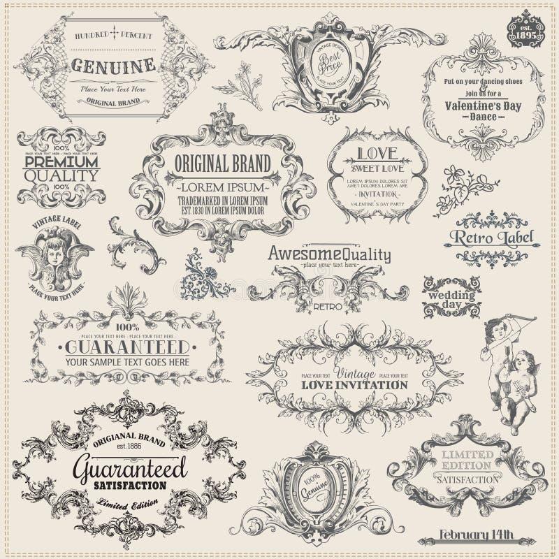 De kalligrafische Elementen van het Ontwerp vector illustratie