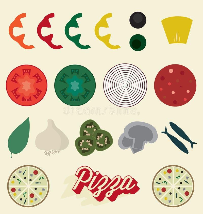 Geplaatste vector: De Inzameling van pizzabovenste laagjes stock illustratie