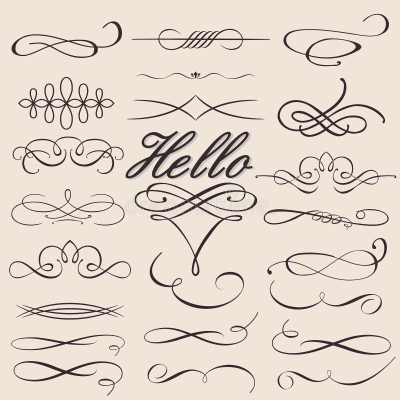 Geplaatste vector: De kalligrafische Elementen van het Ontwerp stock illustratie
