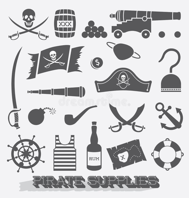 Geplaatste vector: De Pictogrammen van de piraatlevering royalty-vrije illustratie