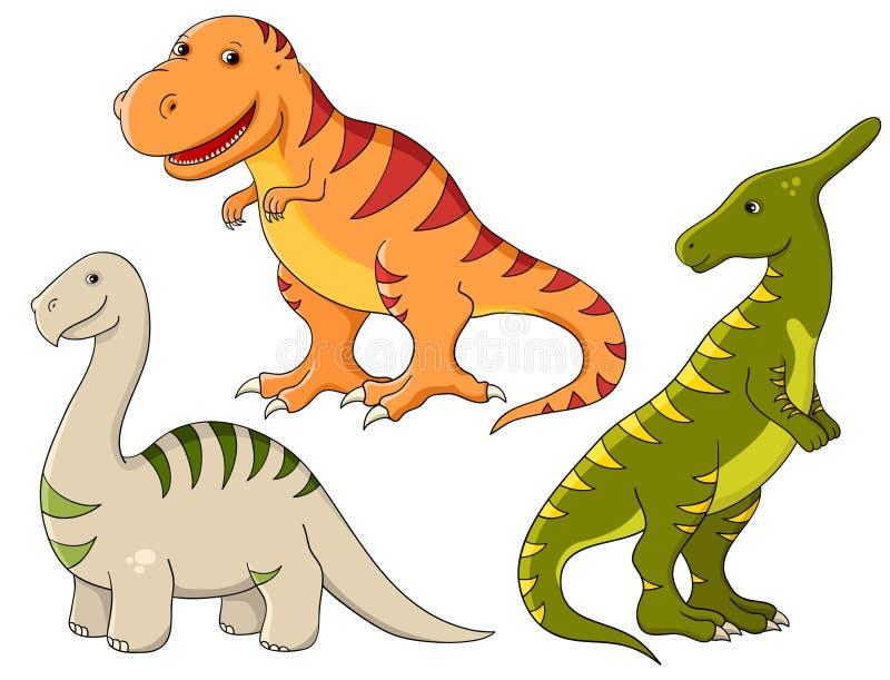 Geplaatste vector - dinosaurussen stock illustratie