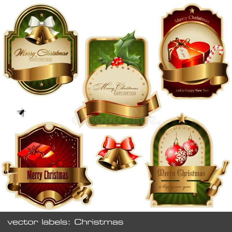 Geplaatste vector: Kerstmis etiketten vector illustratie