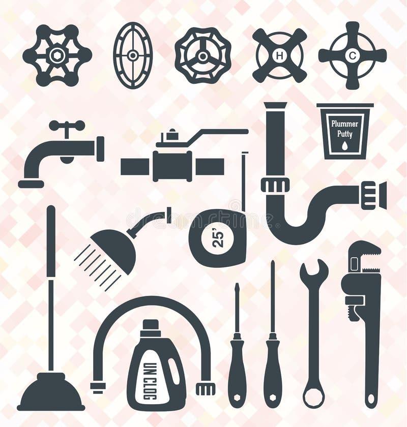 Geplaatste vector: Loodgieterswerkpictogrammen en Symbolen vector illustratie