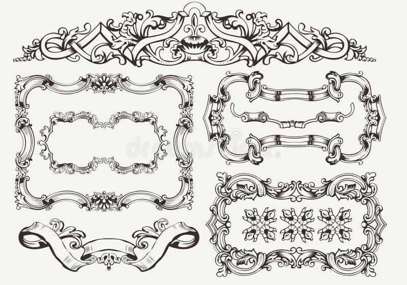 Geplaatste vector: overladen uitstekende kaders vector illustratie