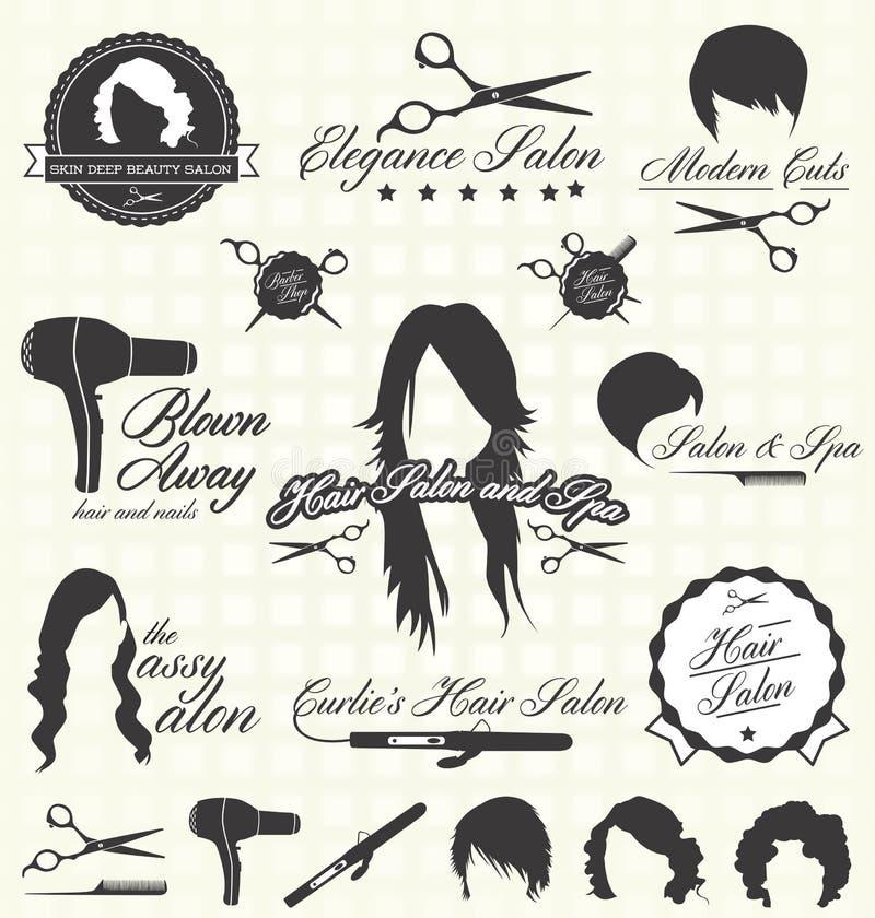 Geplaatste vector: Retro Etiketten en de Pictogrammen van de Haarsalon vector illustratie