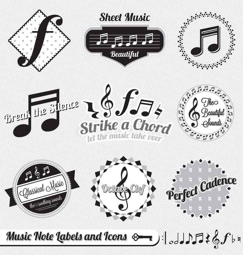 Geplaatste vector: Retro Etiketten en de Stickers van de Nota van de Muziek royalty-vrije illustratie