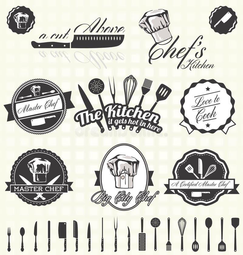 Geplaatste vector: Retro Hoofdchef-kok Labels en Pictogrammen vector illustratie