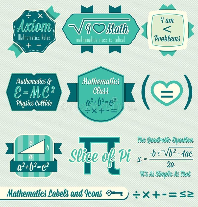 Geplaatste vector: Uitstekende Etiketten Math en Pictogrammen vector illustratie
