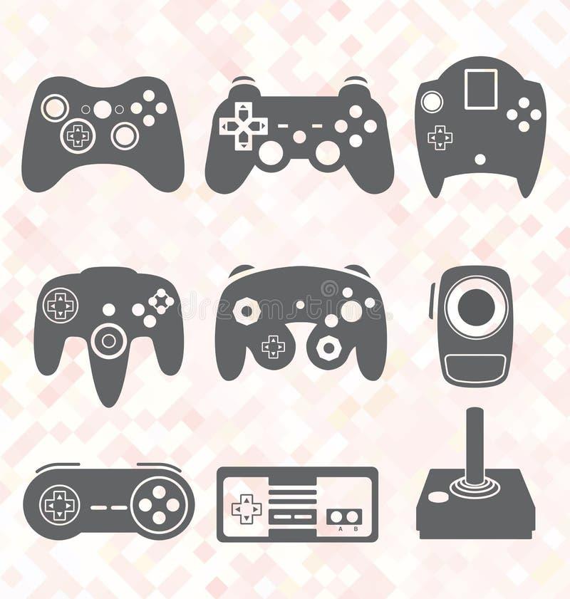 Geplaatste vector: Videospelletjecontrolemechanisme Silhouettes royalty-vrije illustratie