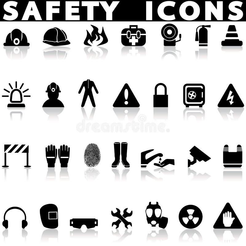 Geplaatste veiligheidspictogrammen stock illustratie