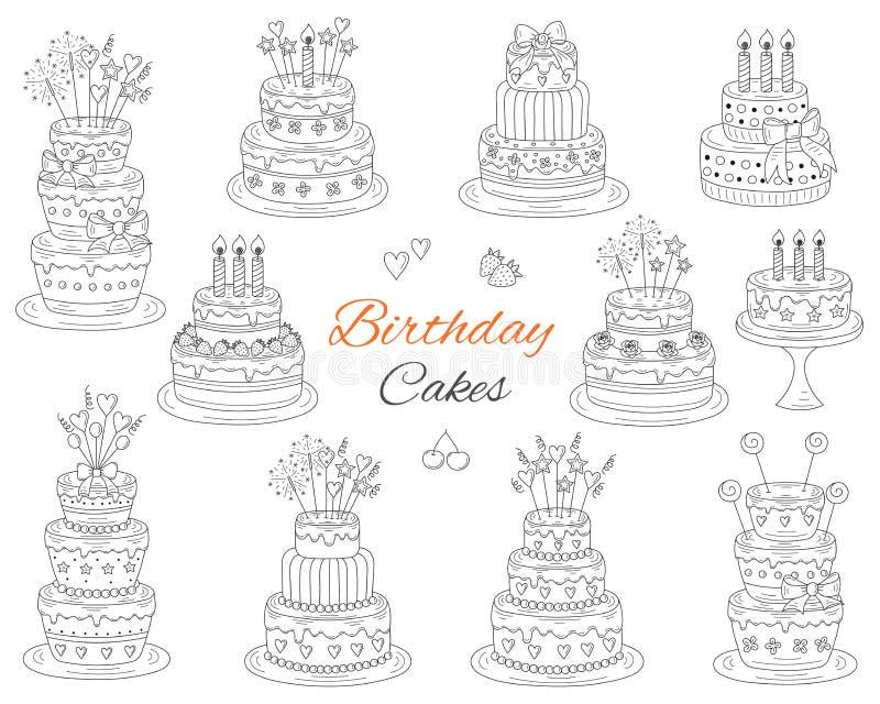 Geplaatste verjaardagscakes, vectorhand getrokken krabbelillustratie stock illustratie