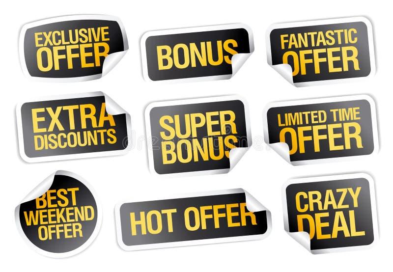 Geplaatste verkoopstickers - fantastische aanbieding, gekke overeenkomst, hete aanbieding, bonus stock illustratie