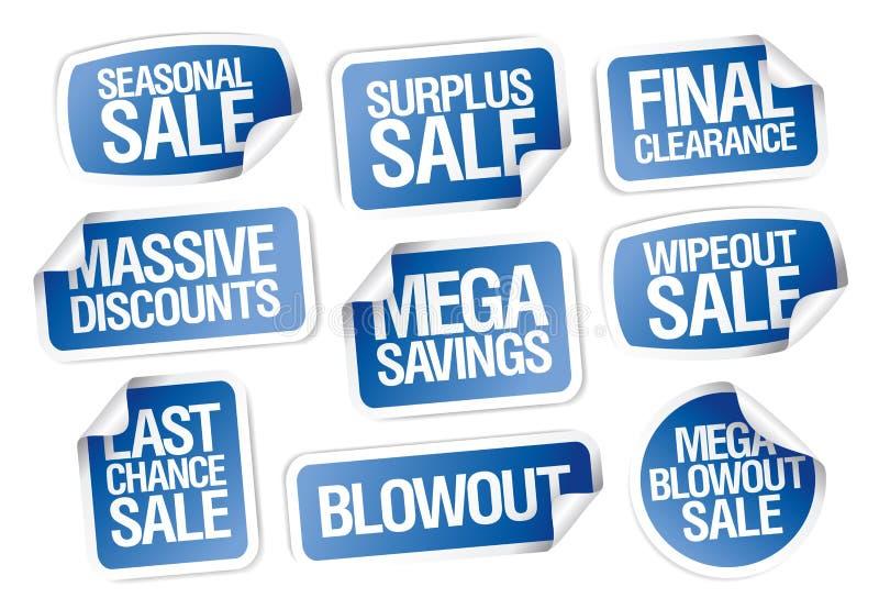 Geplaatste verkoopstickers - massieve kortingen, megabesparingen stock illustratie