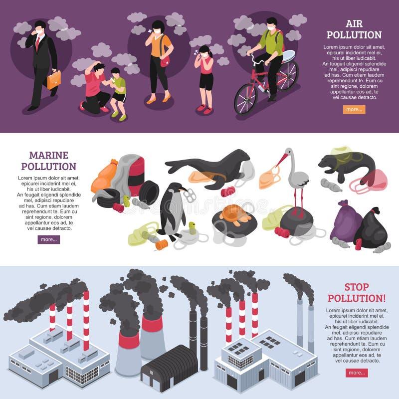 Geplaatste verontreinigingsbanners stock illustratie