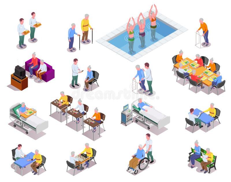 Geplaatste Verpleeghuis Isometrische Pictogrammen stock illustratie