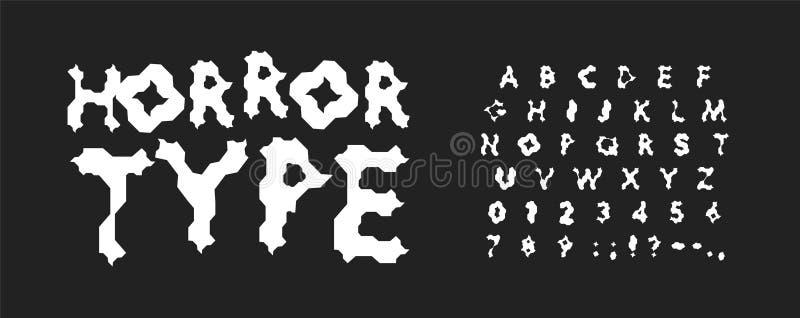 Geplaatste verschrikkingsletters en getallen Het enge vector Latijnse alfabet van de beeldverhaalstijl Doopvonten voor spelen, jo stock illustratie