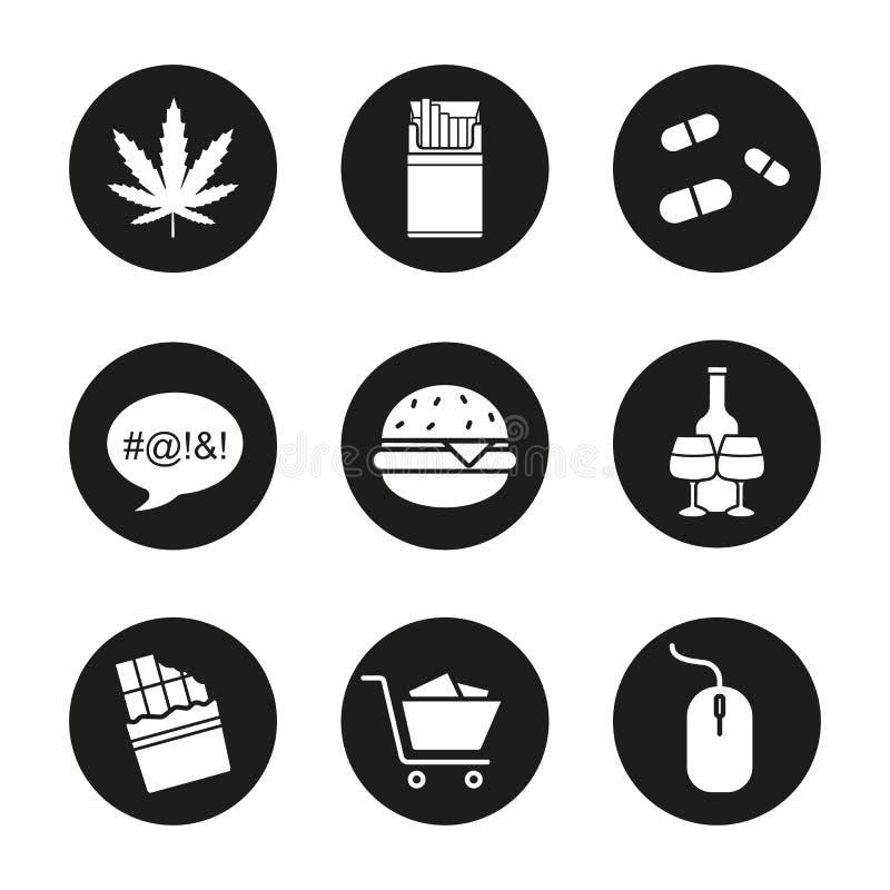 Geplaatste verslavingspictogrammen stock illustratie