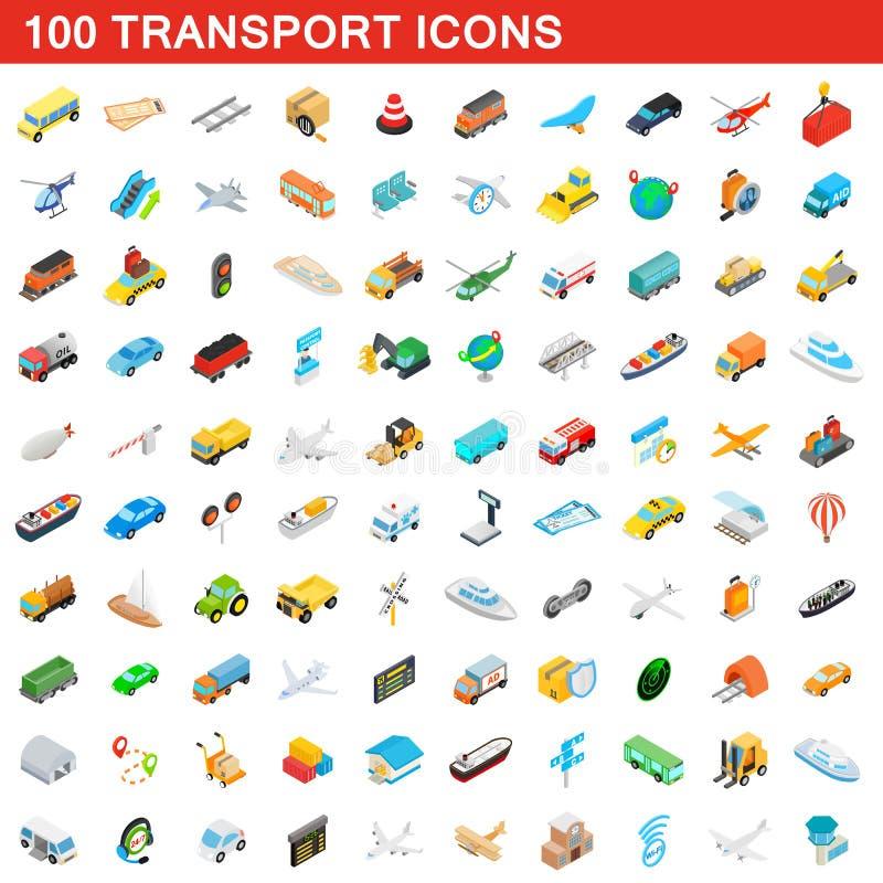 100 geplaatste vervoerpictogrammen, isometrische 3d stijl vector illustratie