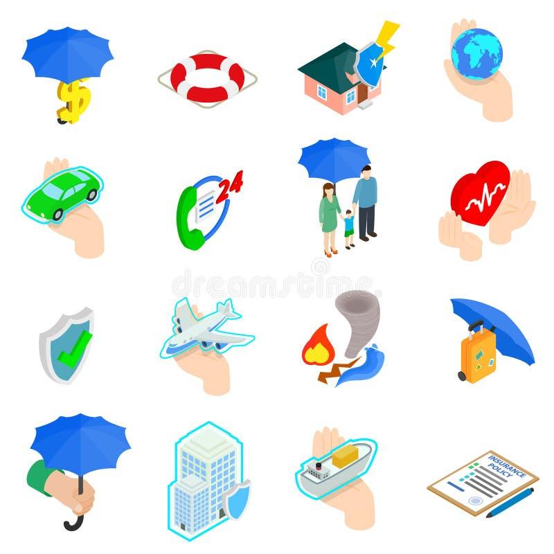 Geplaatste verzekeringspictogrammen, isometrische 3d stijl royalty-vrije illustratie