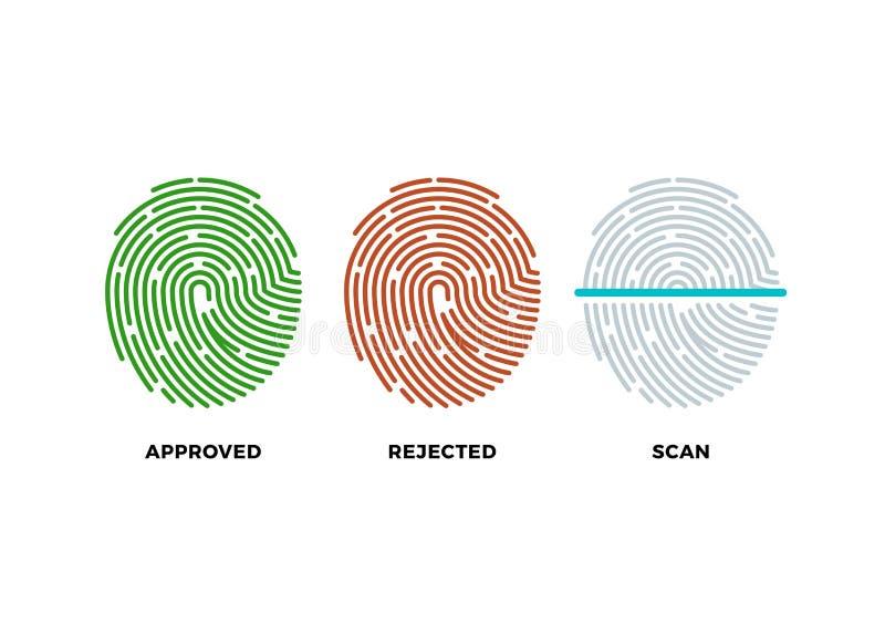 Geplaatste vingerafdruk thumbprint vectorpictogrammen Goedgekeurd, verworpen en aftastensymbolen stock illustratie