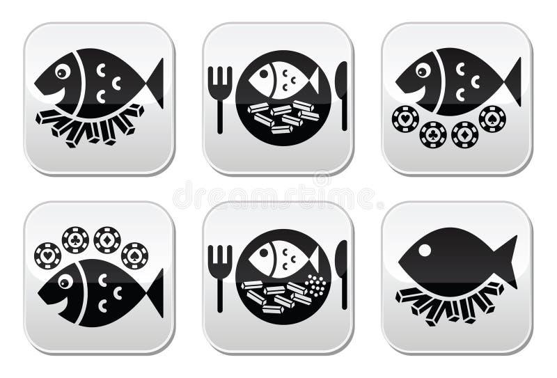 Geplaatste vis met patatknopen vector illustratie