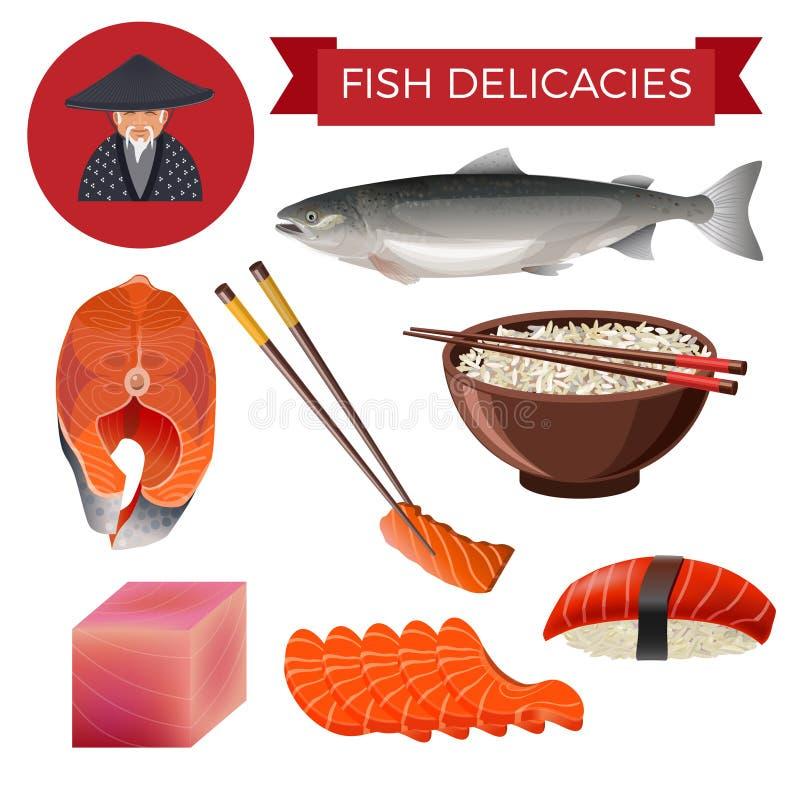 Geplaatste vissendelicatessen royalty-vrije illustratie