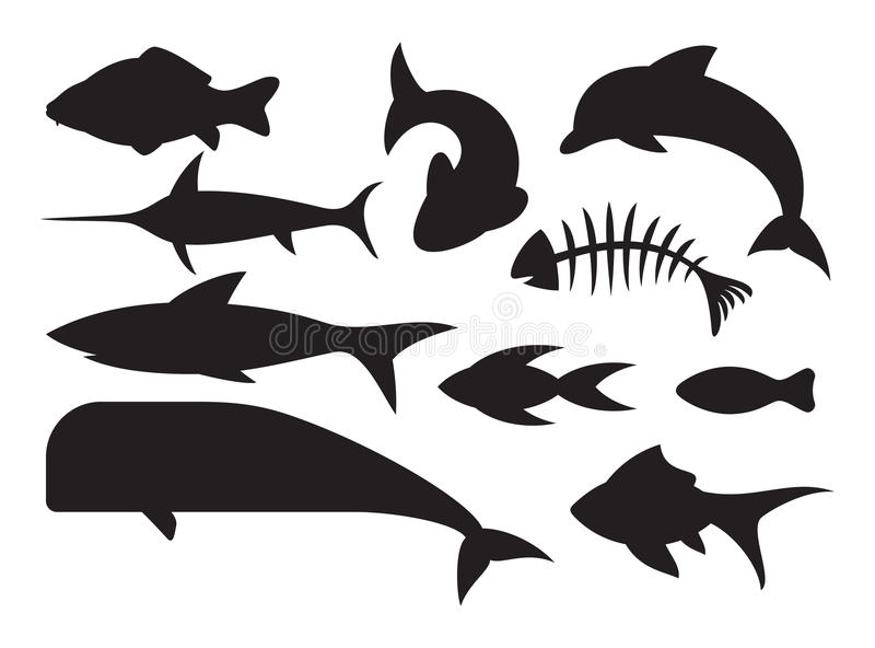 Geplaatste Vissenpictogrammen Royalty-vrije Stock Afbeelding