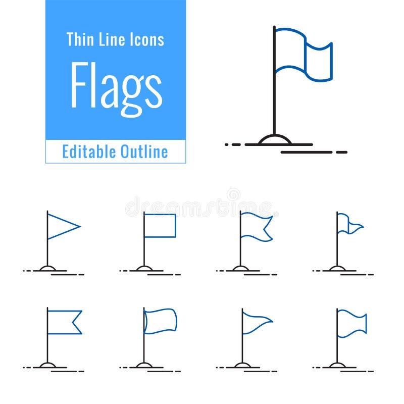Geplaatste vlagpictogrammen, de Concurrentievlag, Bedrijfsmijlpaal, succes, Dunne lijn editable slag stock illustratie