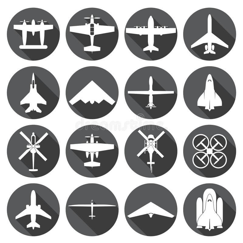 Geplaatste vliegtuigpictogrammen stock illustratie