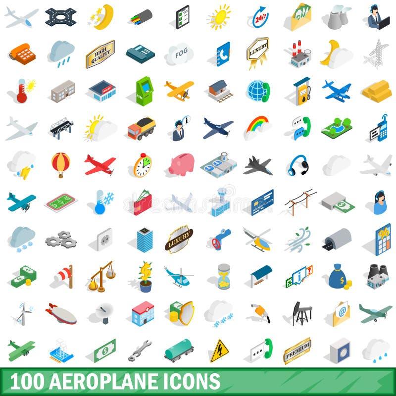 100 geplaatste vliegtuigpictogrammen, isometrische 3d stijl stock illustratie