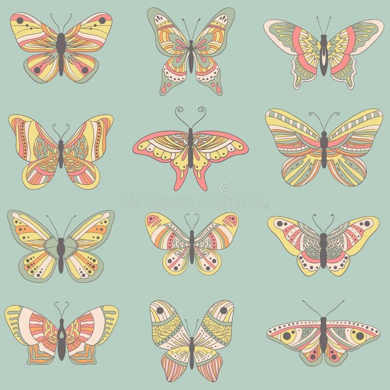 Geplaatste vlinders vector illustratie