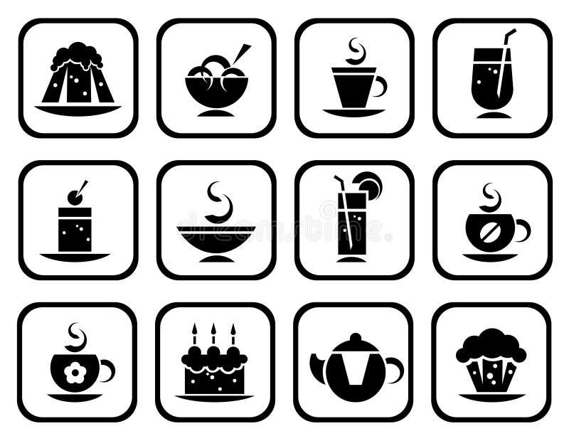 Geplaatste voedselsymbolen vector illustratie