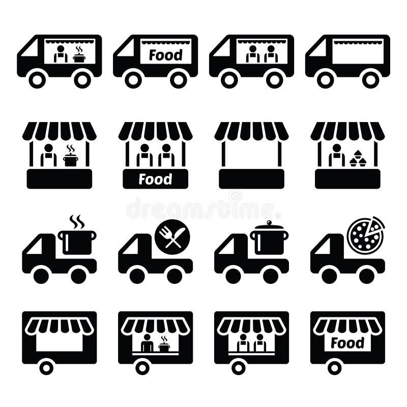 Geplaatste voedselvrachtwagen, voedseltribune en de pictogrammen van de voedselaanhangwagen royalty-vrije illustratie