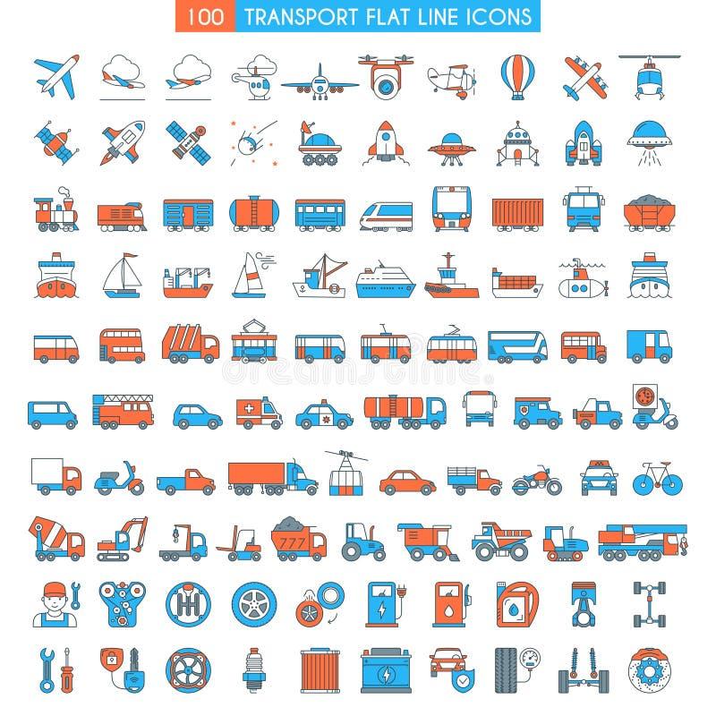 Geplaatste voertuigen grote pictogrammen stock illustratie