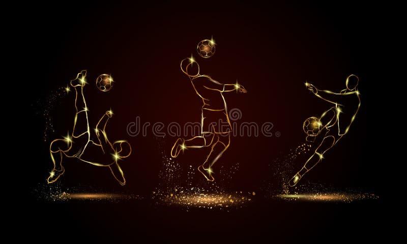 Geplaatste voetballers Gouden lineaire voetbalsterillustratie voor sportbanner, achtergrond royalty-vrije stock foto's