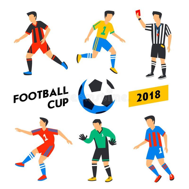 Geplaatste voetballers Voetbalkop 2018 Volledige kleurenillustratie in vlakke stijl Voetbalteam stock illustratie