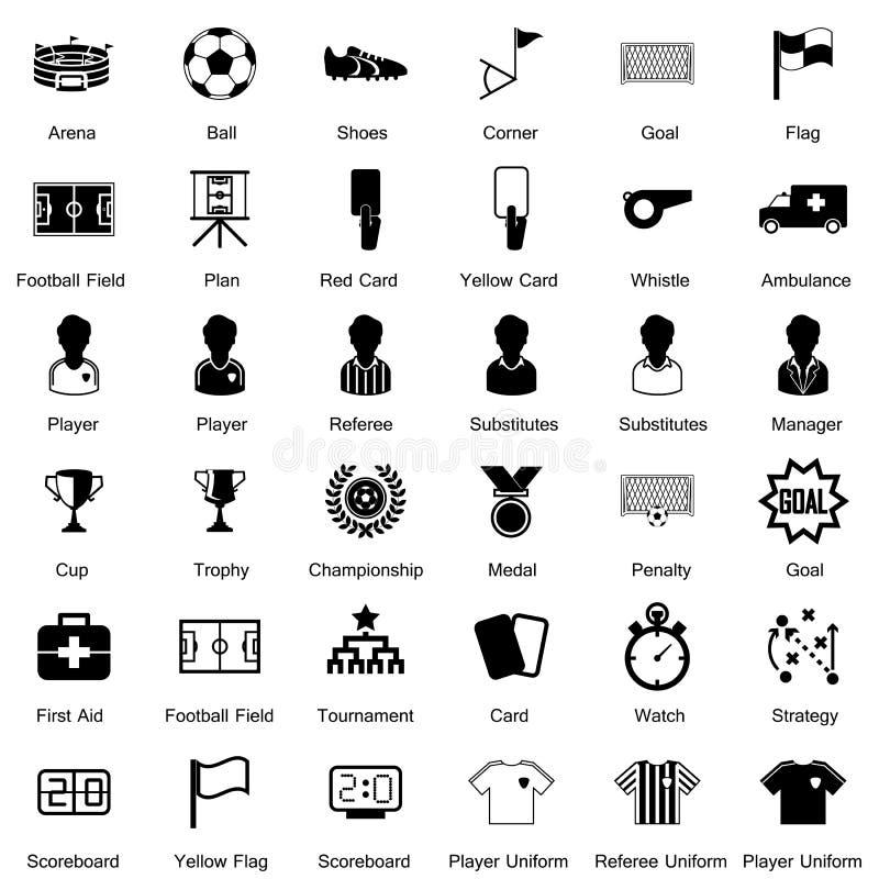 Geplaatste voetbalpictogrammen royalty-vrije illustratie